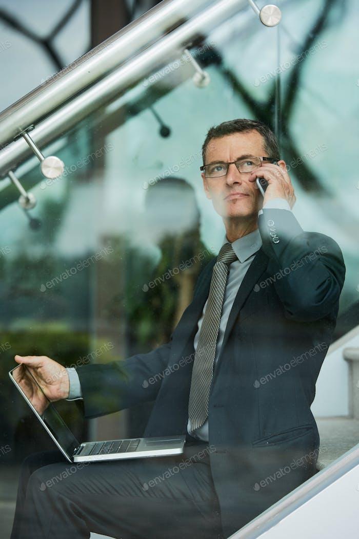 Confident calling man