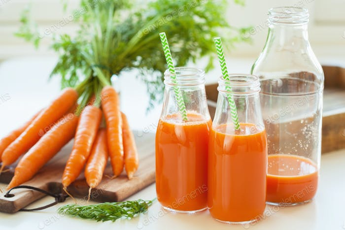 fresh carrot juice and vegetables
