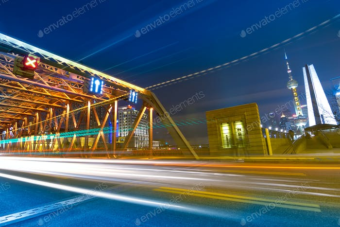 the light trails on the modern building