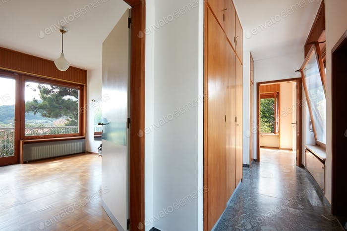 Room interior and corridor in old country house