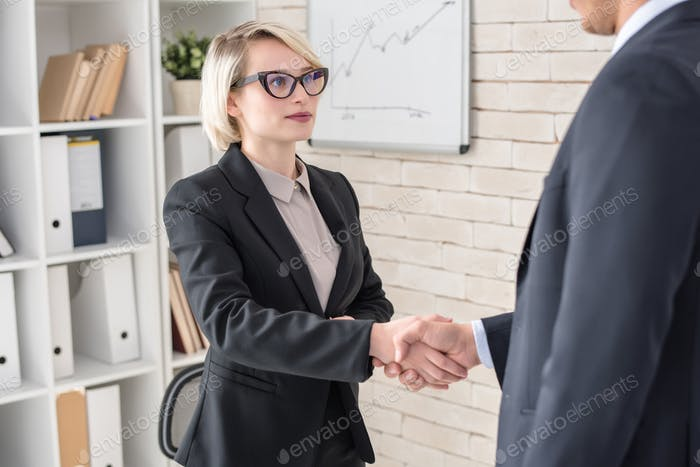Female Boss Shaking Hands with Partner