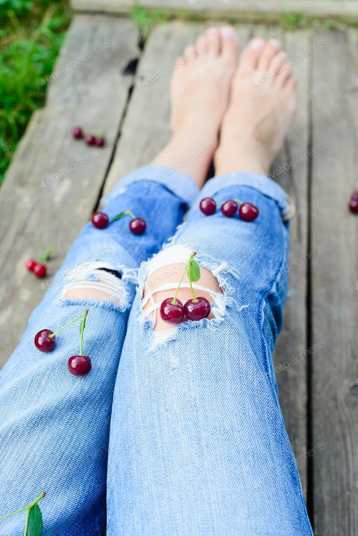 Girl and cherry