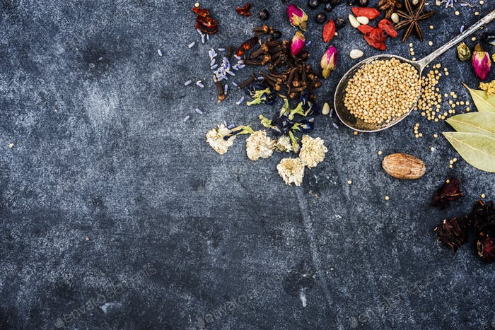 Variety of spice on grunge background