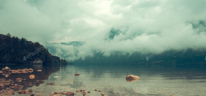 Autumn scenery at lake Bohinj