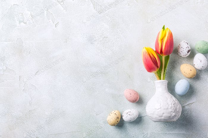 Easter composition with spring tulips