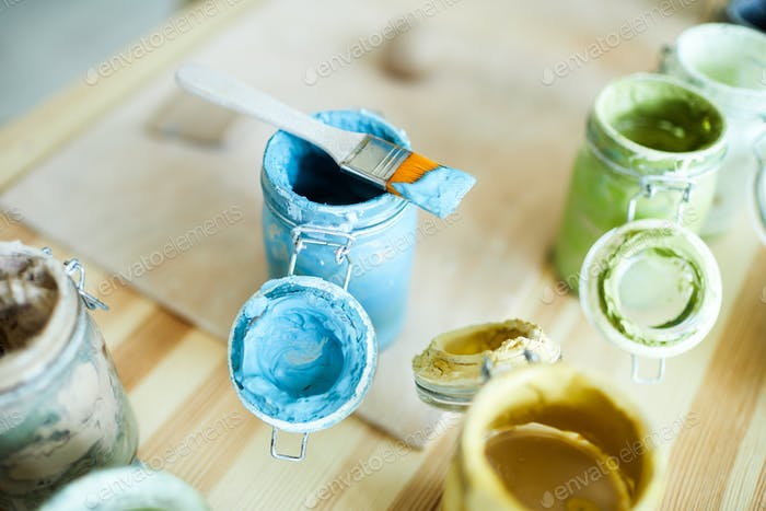 Gouache in jars
