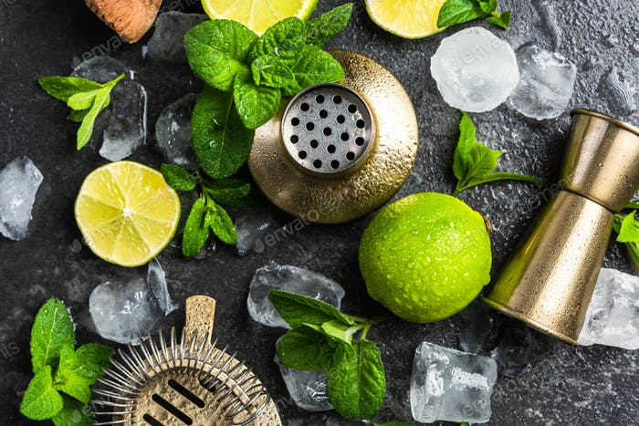 Ingredients and tools for making refreshing cocktails