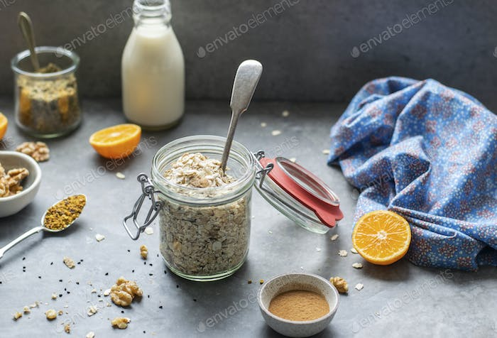 Orange breakfast bowl preparation