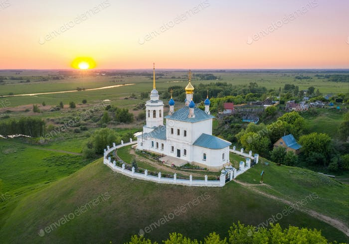 Aerial view of Church located on the mound