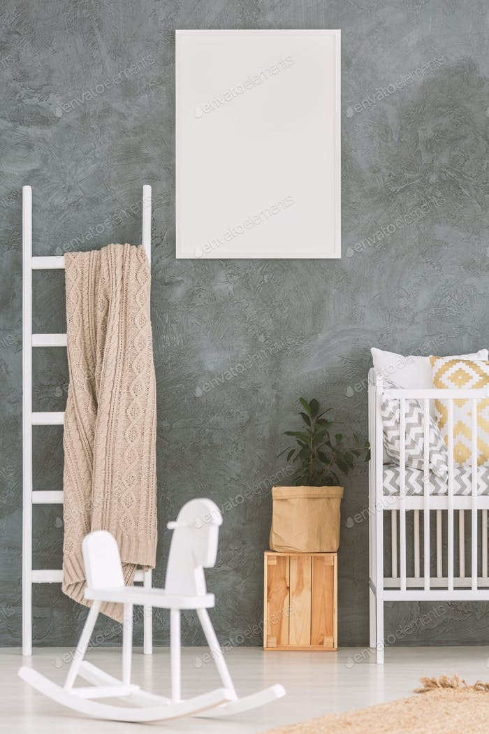 Baby bedroom with white cot