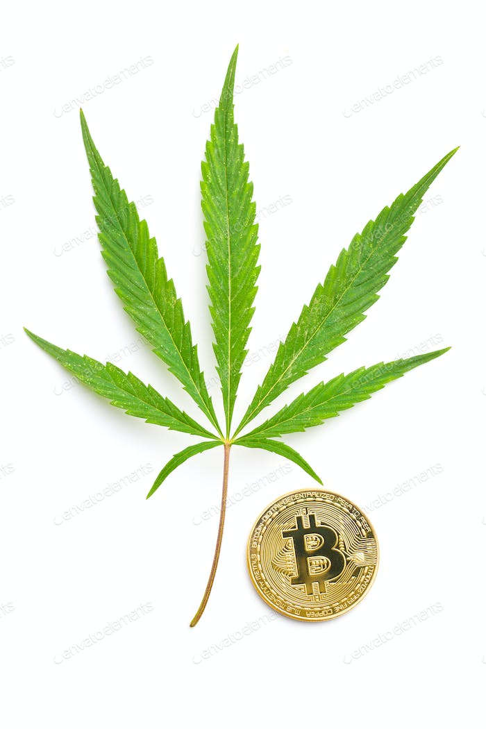 Green cannabis leaf and bitcoin coin.