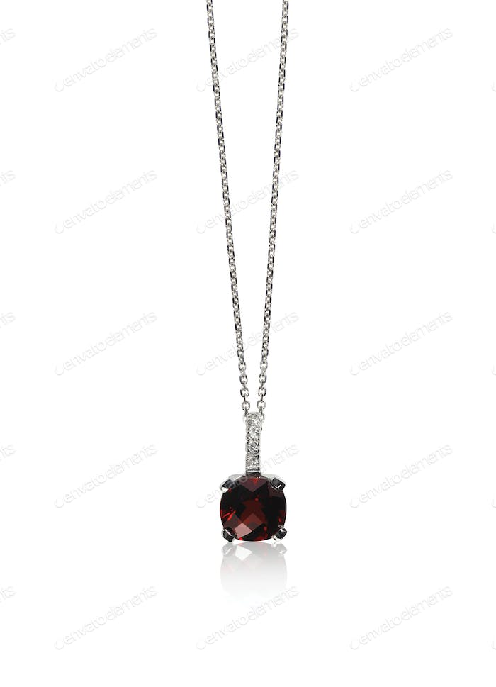 Deep Red Garnet Gemstone diamond necklace with chain