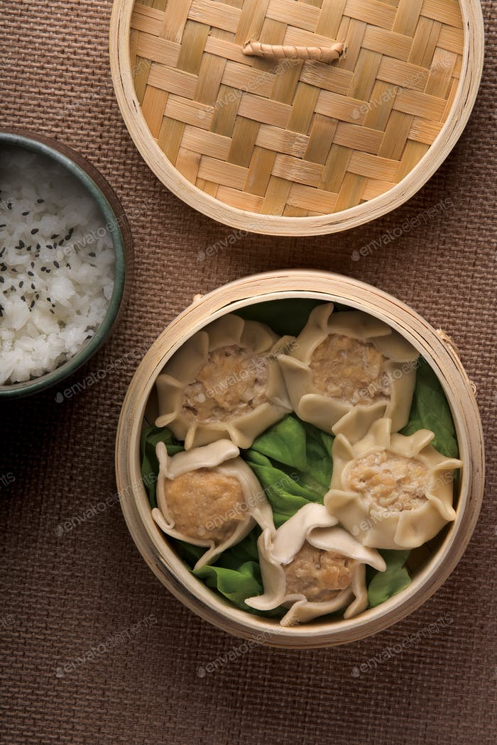 Dumplings and rice in baskets