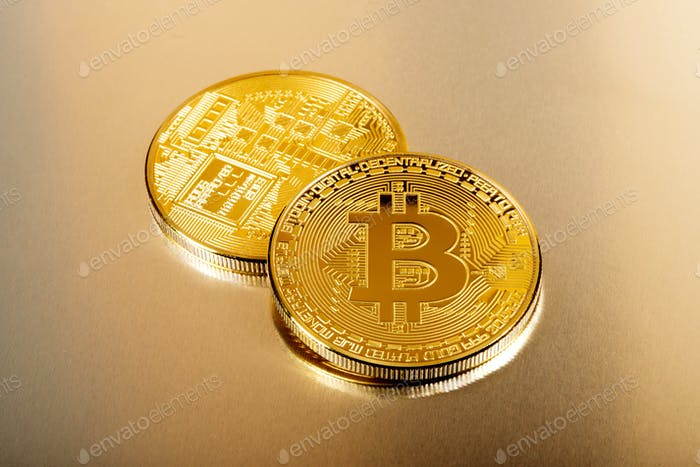Bitcoin collectible coins in close up view