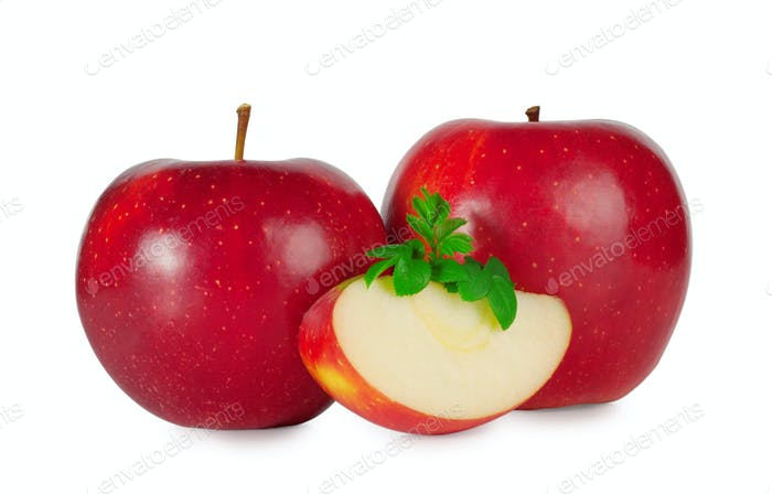 Two ripe red apple with a slice