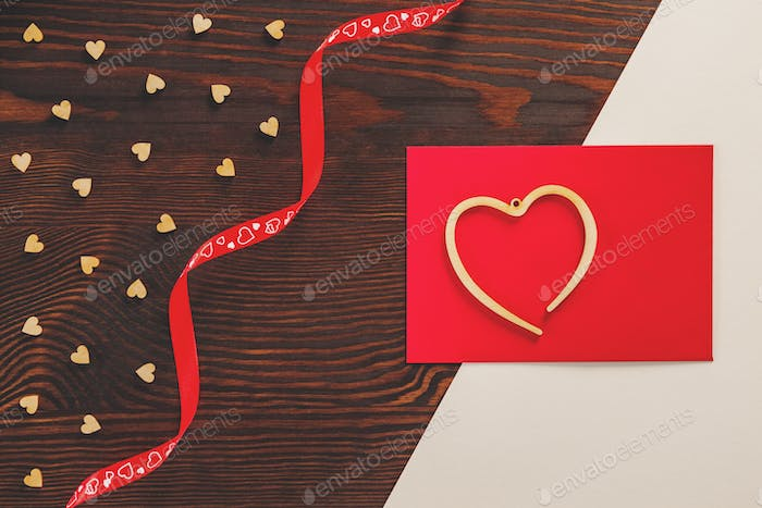Valentine card on table