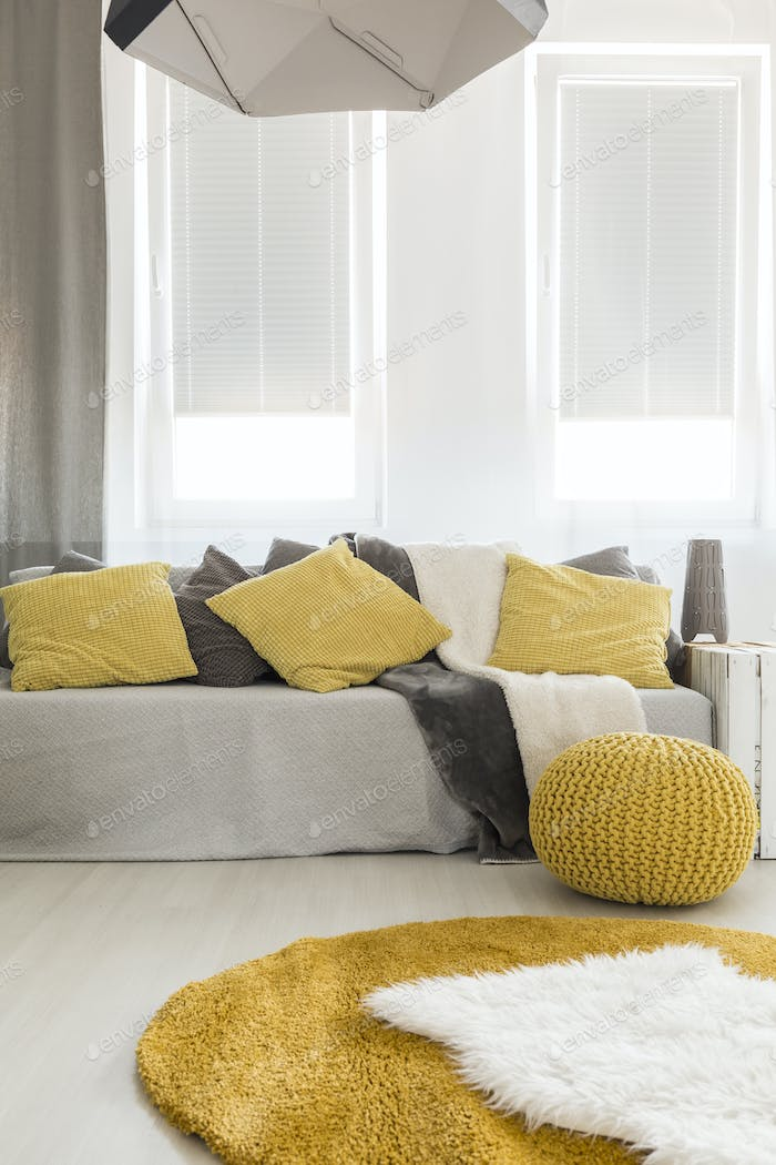 Room with couch and pillows