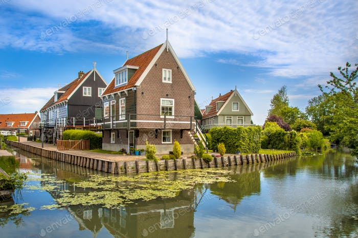 Traditional waterfront houses along canal