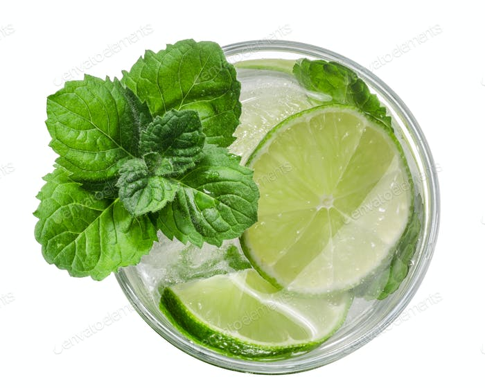 Mojito cocktail, top view, paths