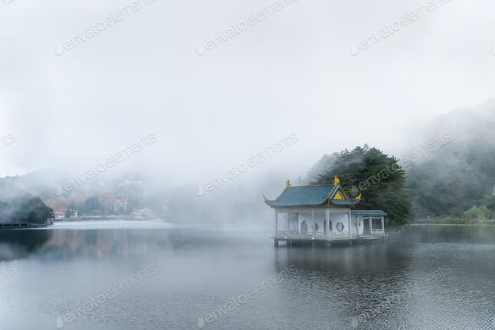 beautiful lushan landscape, clouds and fog on the lake,  jiangxi province, China