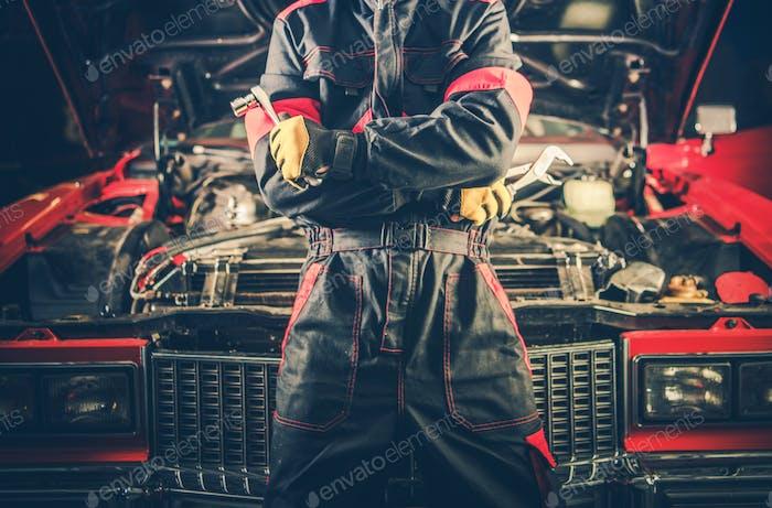 Retro Auto Mechaniker Thema