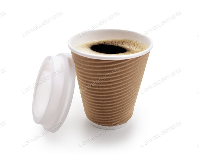 Coffee take out disposable cup isolated on white
