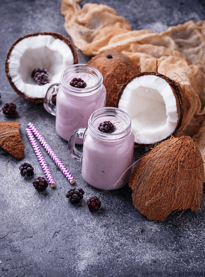 Healthy shake with blackberries and coconut milk