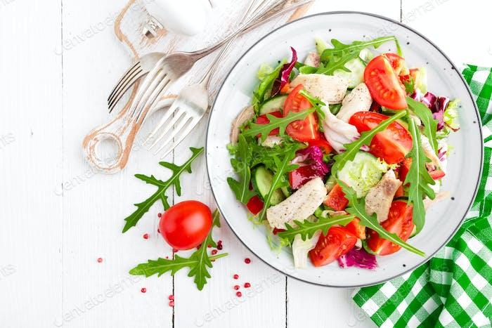 Chicken fillet salad with fresh vegetables