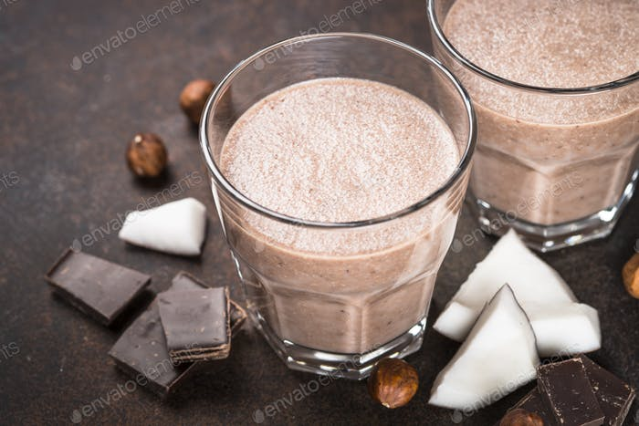 Chocolate coconut hazelnut milkshake or smoothie