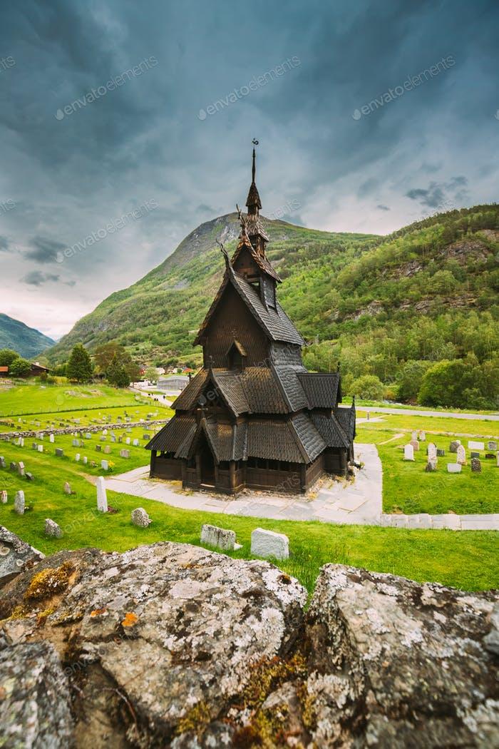 Borgund, Norway. Famous Landmark Stavkirke An Old Wooden Triple Nave Stave Church In Summer Day