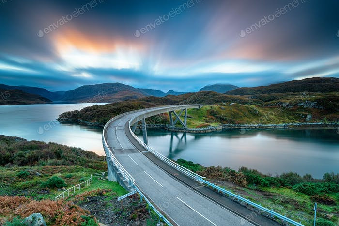 A long exposure of sunrise over Kylesku Bridge