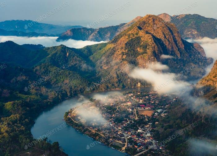 Aerial view of Nong Khiaw village at sunrise, Laotian, Luang Prabang, Laos