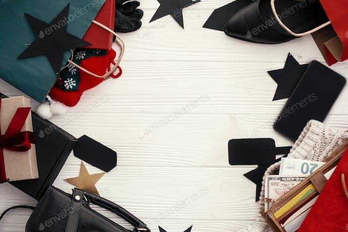 Christmas shopping and seasonal sale. Advertising app