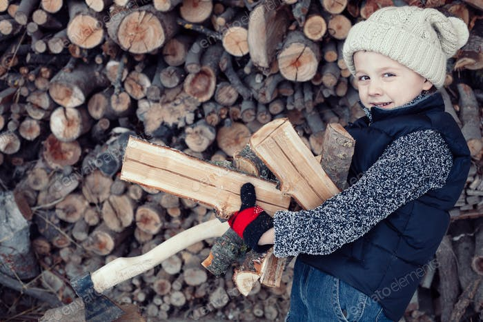 Little boy chopping firewood in the front yard at the day time.