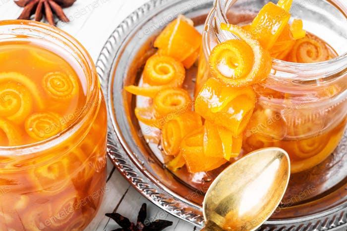 Orange jam in glass jar