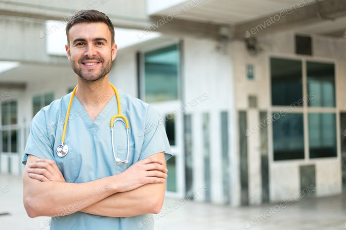 male nurse with stethoscope