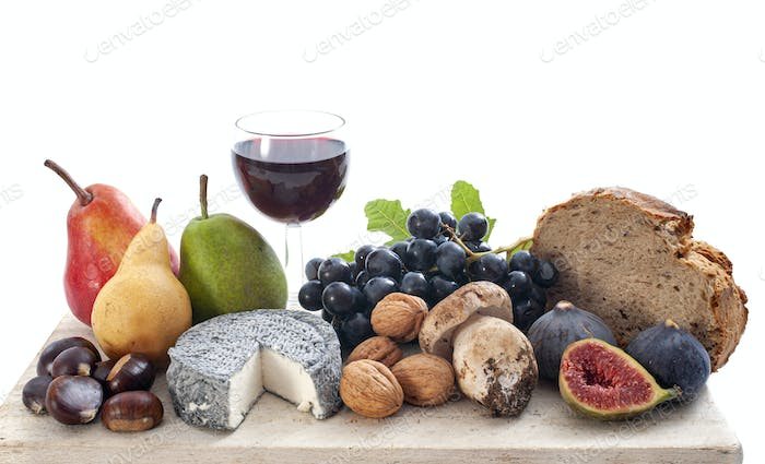 cheese, wine and fruits