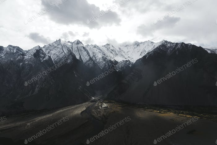 Beautiful scenic Himalayas covered in snow