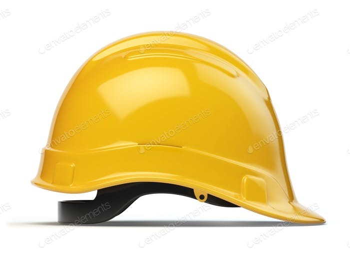 Yellow hard hat, safety helmet isolated on white