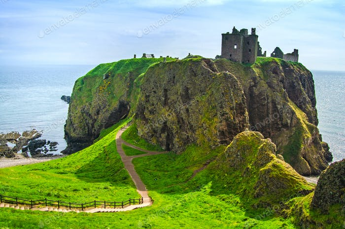 Dunnottar scottish medieval fortress or castle. Highlands of Sco
