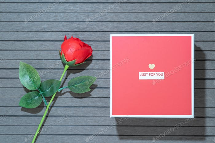 Valentines Day with red box and red roses-4