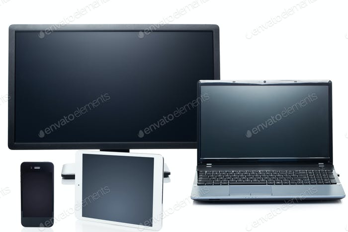 Technology. Electronic devices on a white background