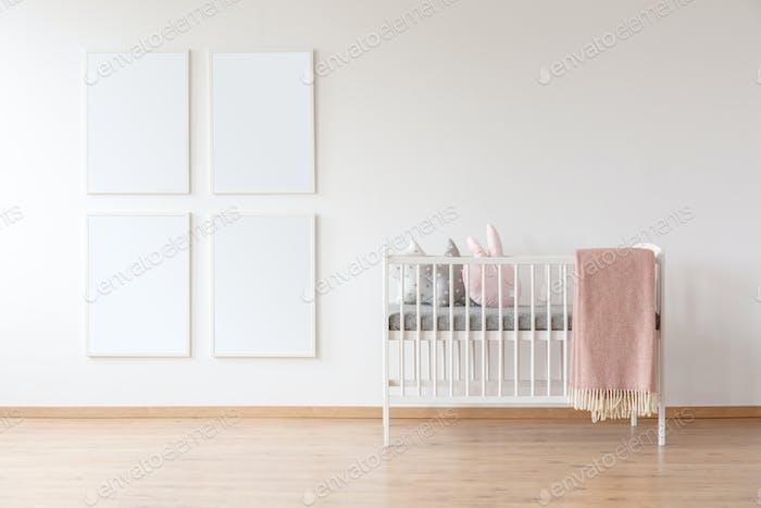 White crib and poster mockups