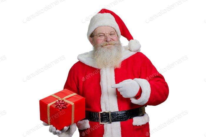 Portrait of Santa Claus with present