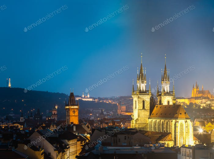 Night cityscape of Prague, Czech Republic. Town hall, Church Of