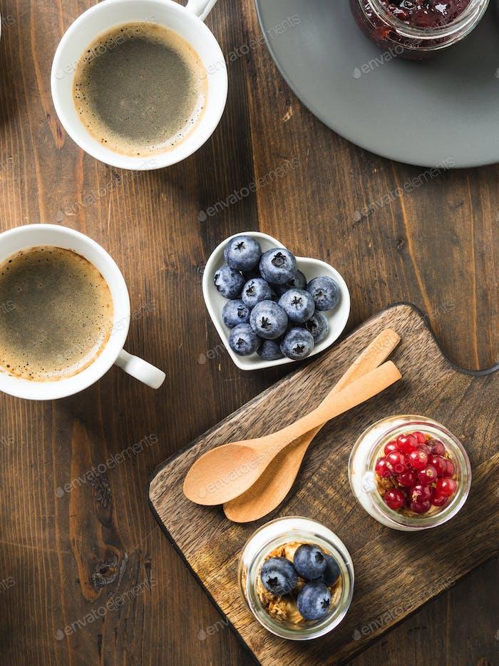 Cozy Breakfast food concept dark wooden background