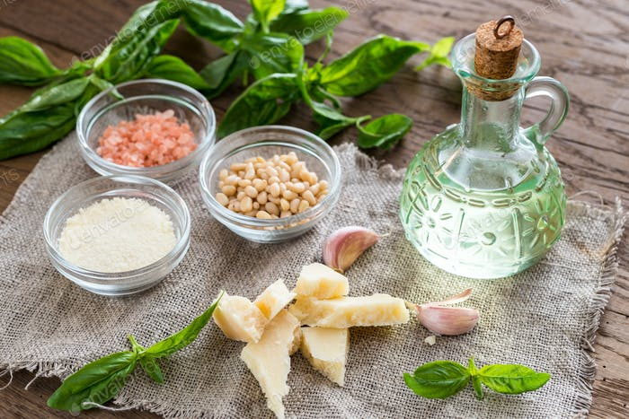 Ingredients for pesto on the wooden table
