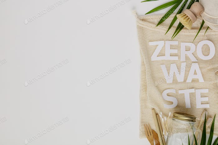 Zero waste concept, eco friendly accessories, flat lay