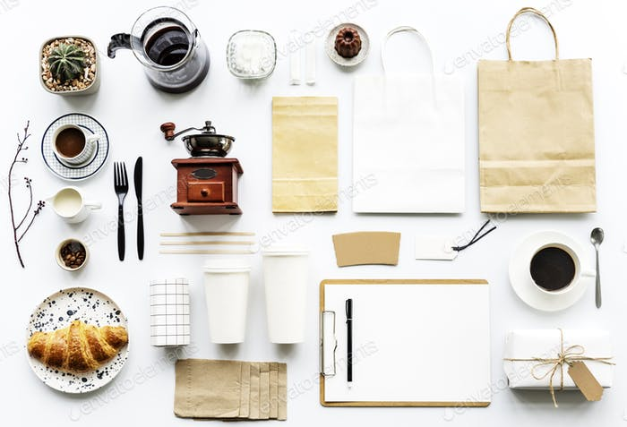 Aerial view of coffee setting on white table