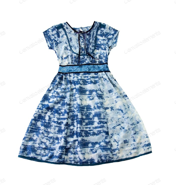 Paint spots blue evase belted dress